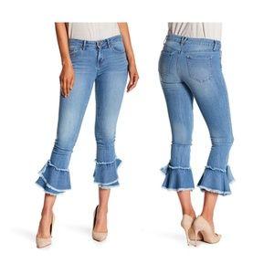 NEW Jessica Simpson Frayed Ruffle Hem Crop Jeans